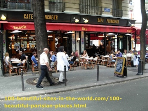 100 Beautiful Parisian Places: Montmartre, Cafe Francoeur, Sacre Coeur.