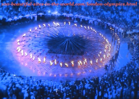 London Olympics 2012. The fires of the 205 copper petals of the torch on the ground