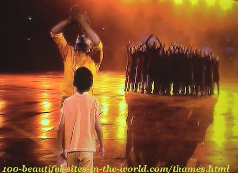 London Olympics 2012. The Olympics celebrations joy in a theatre show