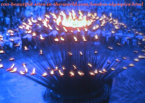 London Olympics 2012. The 205 copper petals of the torch when lifted up from the ground