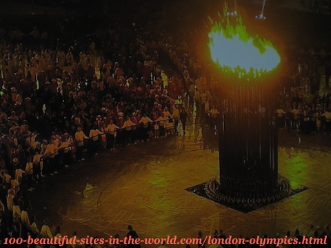London Olympics 2012. The 205 copper petals of the torch before they got into the main torch