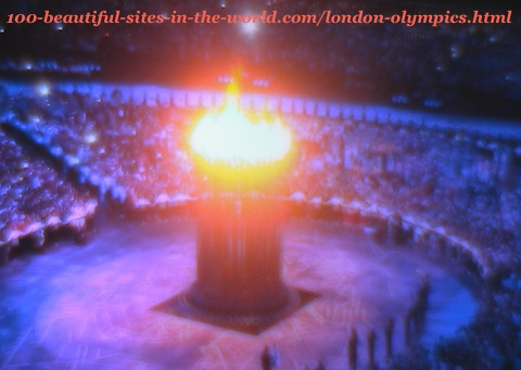 London Olympics 2012. The lights of the main big torch
