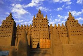 Front View from Djenne Mud Mosque in Timbuktu, Mali