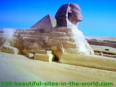 The Great Sphinx of Giza, a limestone statue of a mythical creature with the body of a lion and the head of a human in Egypt among 100 Beautiful Sites.