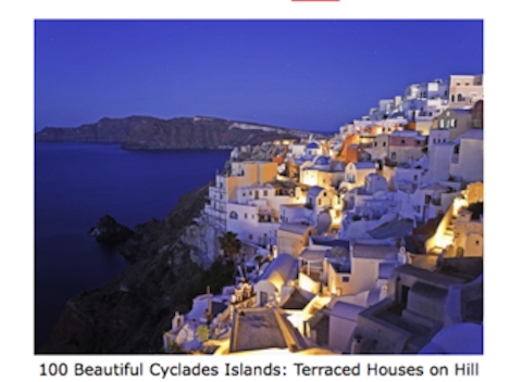 100 Beautiful Cyclades Islands - Terraced Houses on Hill.
