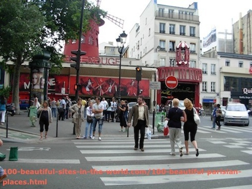 100 Beautiful Parisian Places: Moulin Rouge, Red Mill.