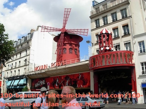100 Beautiful Parisian Places: Moulin Rouge, Tourists Attractions in France.