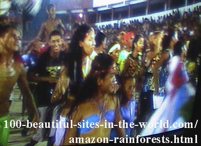 Beautiful Amazonian Scenes: Amazonian Native People Enjoying Amazonian Carnivals.