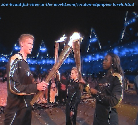 London Olympics torch. Athletes lighting other torches