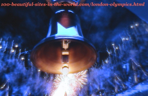 London Olympics bell 2012. Bell, fireworks and reflection of the blue lights