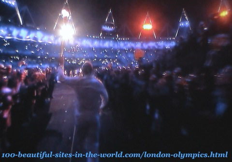 London Olympics 2012. Getting London Olympics-torch inside to begin lighting the torches