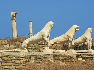 100 Beautiful Cyclades: Statues, Lion Terrace, Delos, UNESCO World Heritage Site, Cyclades Islands, Slandsese.